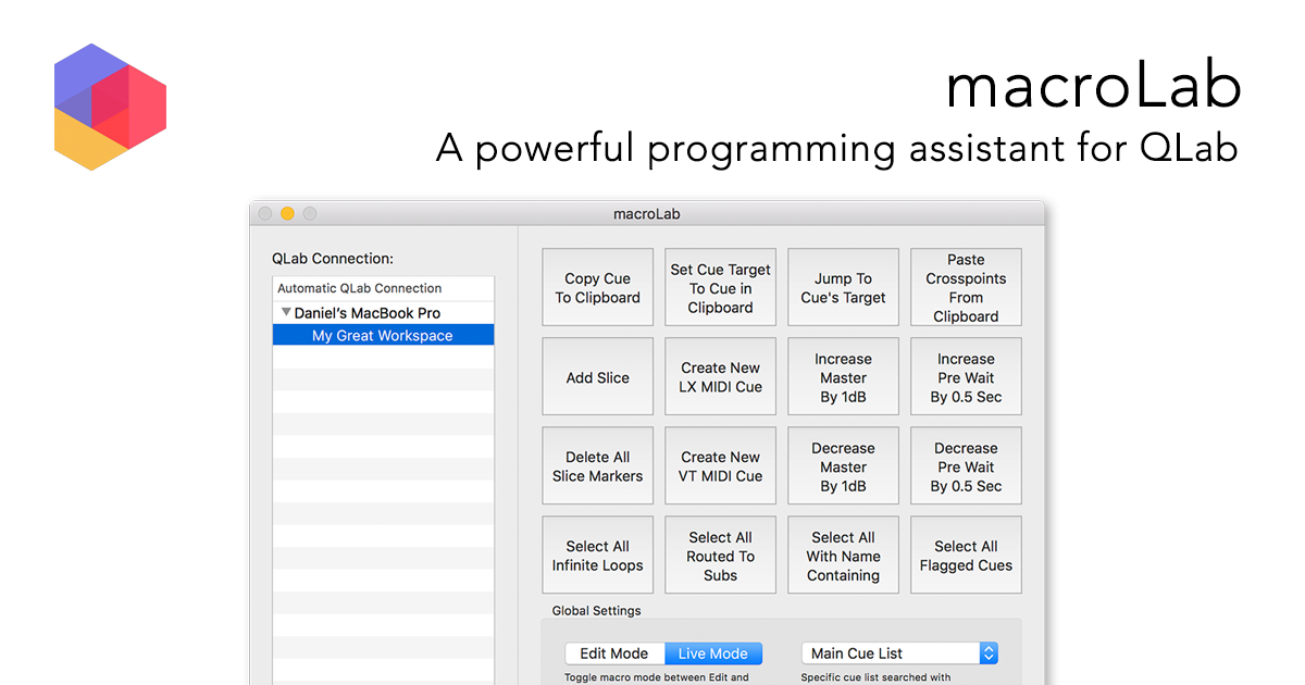 macroLab - A powerful programming assistant for QLab